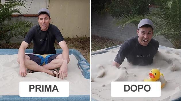 """Ex ingegnere della Nasa trasforma una vasca di sabbia in """"sabbie mobili"""". Ecco come ha fatto"""