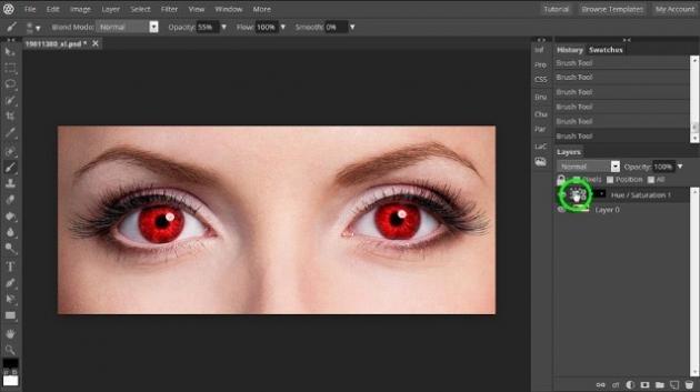 Ritoccare una foto con Pixlr X: via nei e occhi rossi