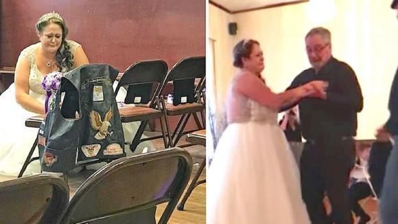 La sposa vede il giubbotto del padre defunto e pensa sia una sorpresa. Poi un uomo la invita a ballare