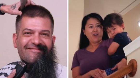 Chiede al marito di tagliarsi la barba. Lui l'accontenta e la donna quasi non lo riconosce più!