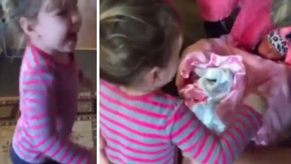 Bimba di 2 anni incontra per la prima volta la sorellina appena nata. La sua felicità è incontenibile!