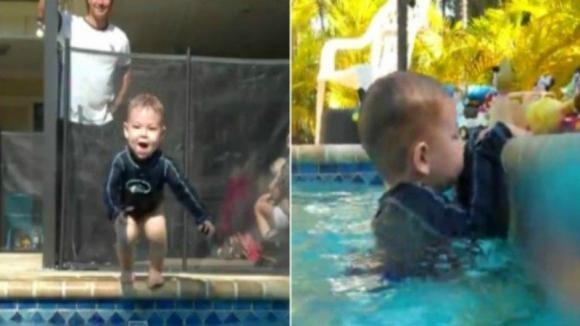Il bimbo si avvicina al bordo della piscina. Quello che accade subito dopo è l'incubo di ogni genitore!