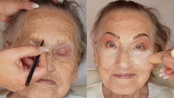 Trucca la nonna 81enne e mostra a tutti che la bellezza non ha età
