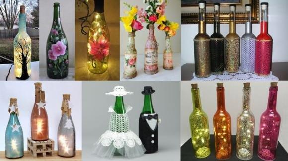 Riciclare bottiglie di vetro per creare decorazioni per la casa