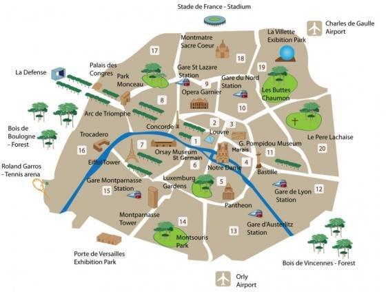 Cartina Fisica Di Parigi.Mappa Con I Monumenti Di Parigi Fidelity Viaggi