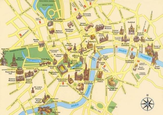 Cartina Londra Con Monumenti.Mappa Con I Monumenti Di Londra Fidelity Viaggi