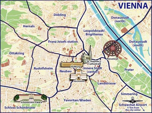 Mappa con i monumenti di Vienna