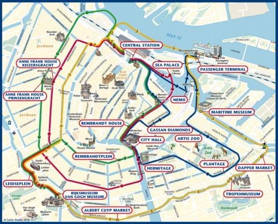 Cartina Amsterdam.Mappa Con I Monumenti Di Amsterdam Fidelity Viaggi