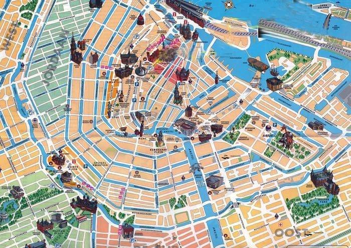 Mappa con i monumenti di Amsterdam