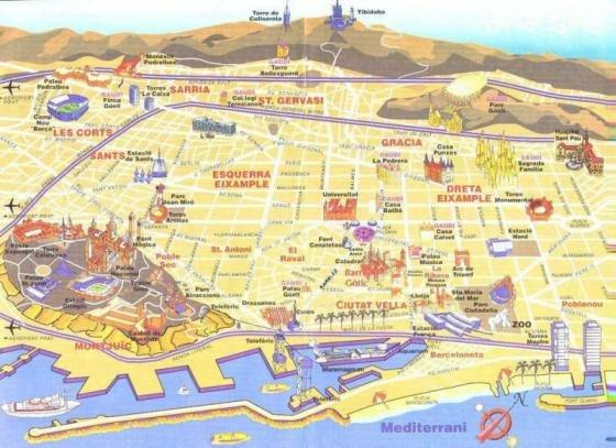 Cartina Quartieri Barcellona.Mappa Con I Monumenti Di Barcellona Fidelity Viaggi