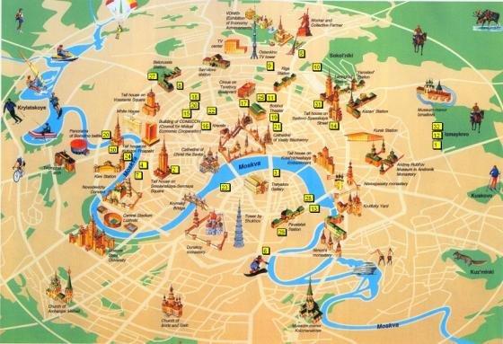 Cartina Della Francia Con Monumenti.Mappa Con Monumenti Di Mosca Fidelity Viaggi