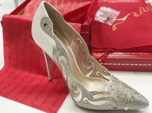 Scarpe da sposa bianche con strass estate 2016 firmate René Caovilla