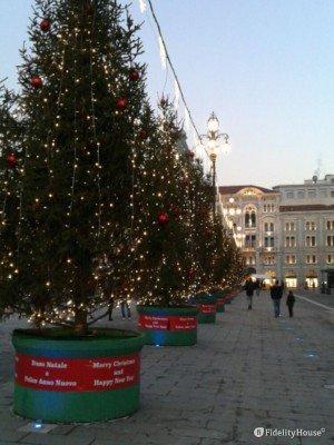 Addobbi natalizi in Piazza dell'Unità d'Italia a Trieste