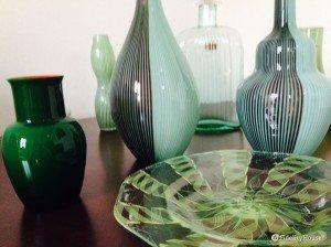La mia collezione di vasi verdi di vetro di Murano