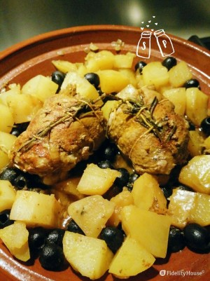 Arrosto di vitello in Tajine con patate e olive