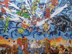 Coloratissimo murales degli eroi a Novate Milanese
