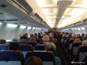 Aeroporto di Verona. Interno di un aereo in partenza.