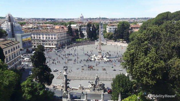 Veduta Di Piazza Del Popolo Dalla Terrazza Del Pincio Roma