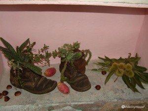 Scarpe vecchie trasformate in vasi