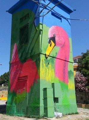 Murales all'interno di un parco giochi