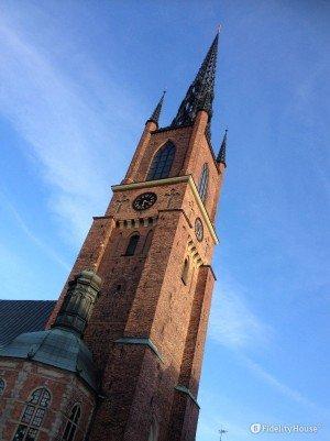 Il campanile della Chiesa di Riddarholmen a Stoccolma