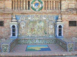 Una panchina di Piazza di Spagna, a Siviglia