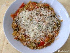 Risotto con verza e peperoni