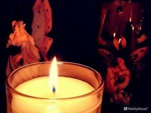 Atmosfera con candela accesa